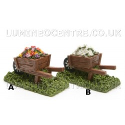 Bloom'its Miniature Ceramic Wheel Barrow with flowers in white or mixed colours