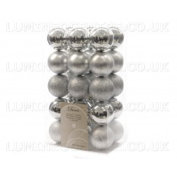 Lumineo 60cm Assorted Silver Colour Shatterproof Baubles  Pack of 30