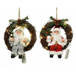 Lumineo Warm White Lit Santa in a Wreath Hanging Decoration