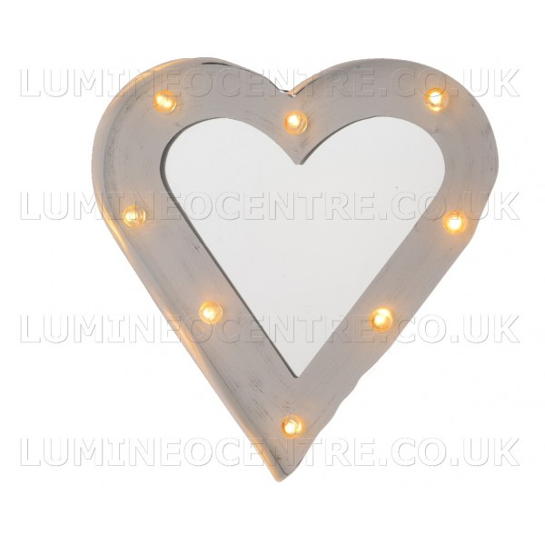 Lumineo White Heart Shape Mirror With Large Led Bulbs