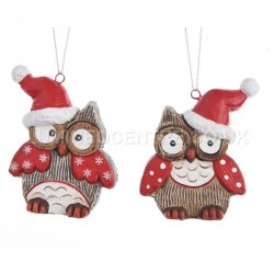 Decoris Ceramic Owl Christmas Decorations