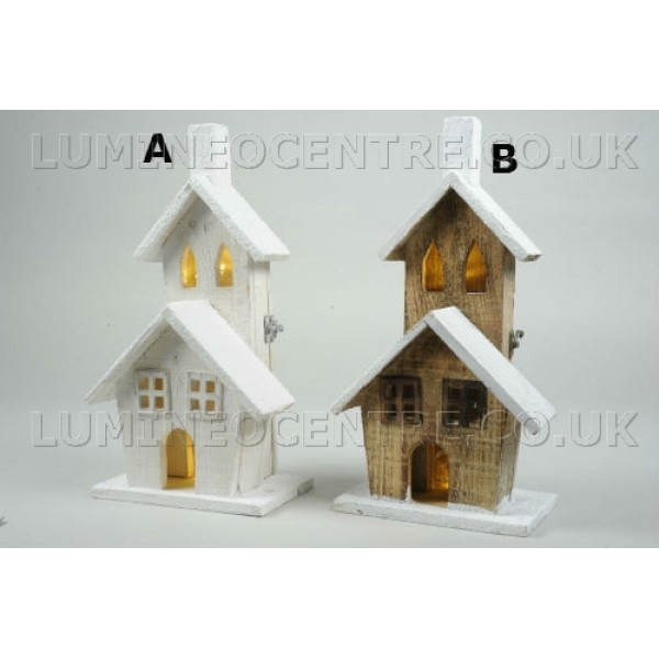 Lumineo 37cm Warm White Led Lit Wooden House