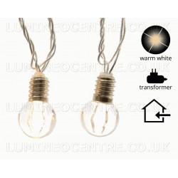 Lumineo 20 Warm White LED Light Bulb Shape Bauble Lights