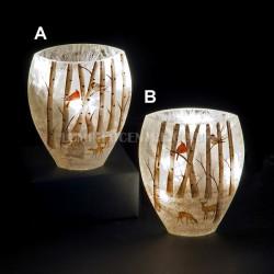 LED Lit Winter Woodland Scene 15cm Glass Vase by Snowtime