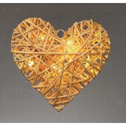 Premier 30cm Wicker Heart with 15 Warm White LEDs