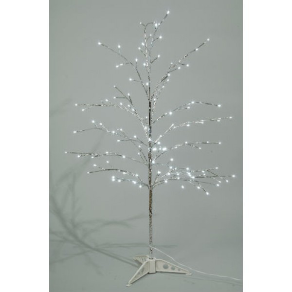lumineo 120cm cool white led pre lit outdoor silver christmas tree - Prelit Led Christmas Trees
